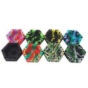 Altıgen silikon küllük Silikon Küllük, Tutma Bobinleri, Çakmaklar, Kalemler, Kağıtlar için Bölmeli Piramit Dokunun.