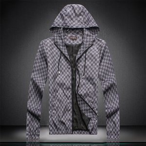 Brand Designer Fashion man jacket with hat zipper lattice letter New arrival Men's coat Hoodies jacket