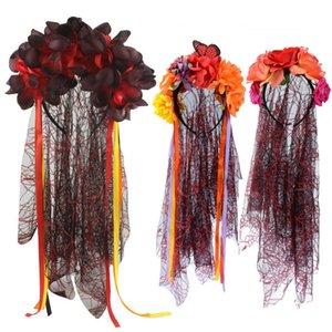 New Halloween Women Party Rose Flower Crown Headband Black Veil Day Of The Dead Bride Veil Fancy Dress Costume Accessory