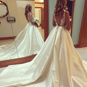 Glamorous Satin Wedding Dress Lace Long Bridal Dresses With Court Train Sexy Backless Ball Bridal Gowns Formal Party robe de mariee B88