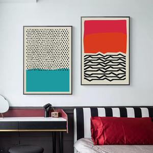 Modern Çok Renkli Kırmızı Mavi Soyut Geometrik Wall Art Canvas Galeri Salon Ev Dekorasyonu Resim Poster Boyama ve Baskı