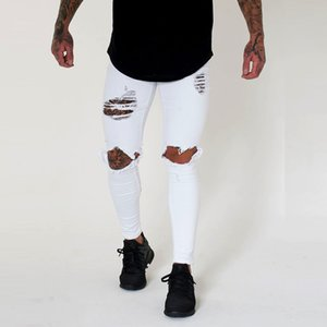 Wihte Men Knee Ripped Holes Skinny Destroyed Jeans Fashion Slim Fit Hip hop Mens Streetwear Cotton High quality Joggers Jeans T200704