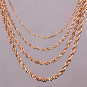 """Oro classico placcato corda Catena 2 millimetri collana, 3mm, 4mm, 5mm per la catena fai da te corda i risultati dei monili Lunghezza 16 """"18"""" 20 """"24"""""""
