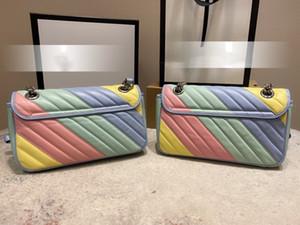 G famille 2020 nouveau style, macaron chaîne amour unique épaule oblique sac, tendance nouveau sac de forme d'onde 26 cm.