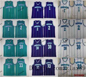 Vintage HornetsBogues Muggsy 2 Büyükanne-ma Dell Curry 30 Alonzo Mourningnba 33 Basketbol FormalarCharlotte Teal Renk