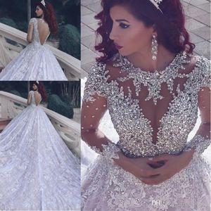 2020 Abiti da sposa musulmani a maniche lunghe perline di lusso con abiti da sposa a pizzo paillettes lungo treno Robe de Mariage