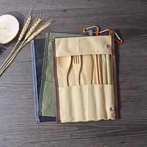 المحمولة والسكاكين مجموعة الخيزران أطباق مجموعة سكين شوكة ملعقة سترو السفر في الهواء الطلق عشاء مجموعة مع حقيبة قماش 100pcs التي LJJA2852