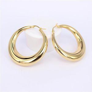Yeni İki renk Altın rengi Kadınlar Hediye Satış Moda Takı Paslanmaz Çelik eşleri Yuvarlak Fancy Hoop Küpeler