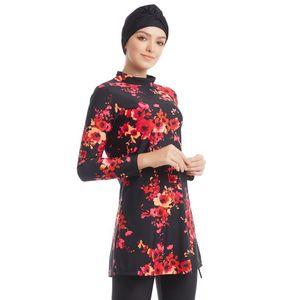 Muslim modestia floreale Swimwear Plus Size Beachwear Full Cover islamica costume da bagno Maxi Stampa Burkini Arab Women Nuoto Abbigliamento