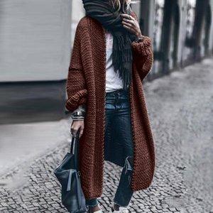 패션 여성 솔리드 겨울 울 카디건 솔리드 박쥐 자켓 스웨터 느슨한 긴 두꺼운 코트 오버 사이즈 캐주얼 외투상의