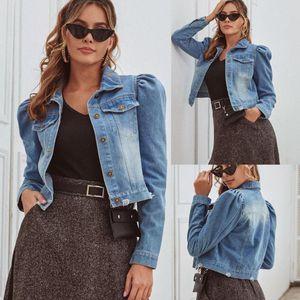 Women's Denim Long Pocket Long Sleeve Princess Sleeve Coat Tank Tops female jacket coat women winter jacket women parka
