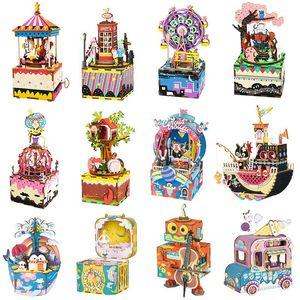 Robotime Music Box DIY 3D puzzle de madeira brinquedos musicais Monte modelo de construção Kits de brinquedos para as crianças filhos adultos Presente de aniversário Y200428