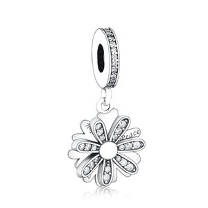 New Authentic 925 Sterling Silver Charm Shining Daisy Flower With Crystal Pendant Beads Fit European Women Bracelet Bangle Diy Jewelry