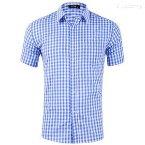 Casual Shirt Robe Hommes Chemises Treillis Solid Slim Fit manches courtes pour hommes Chemise 2020 Printemps Eté Nouveau