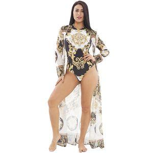 Trajes de baño de moda para mujer de primavera y verano 2019, conjuntos de trajes de baño de impresión de belleza en la playa, bonitos conjuntos de vacaciones de dos piezas de dama