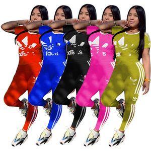 Плюс размер 2XL летние женщины бренд бег трусцой костюм из двух частей набор дизайнер письмо полоса спортивный костюм с коротким рукавом футболка+брюки повседневная одежда 2917
