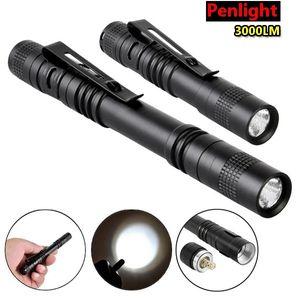 3000Lumens 9cm 13.3cm Elfeland Waterproof Mini Q5 LED Penlight Bicycle Flashlight Torch Lamp Light With Clip