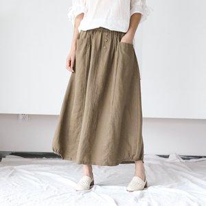 171-0502 color sólido de cuatro botones delgada falda de lino Tong Tong Qun Qun la falda de algodón y lino suelta de algodón para niños