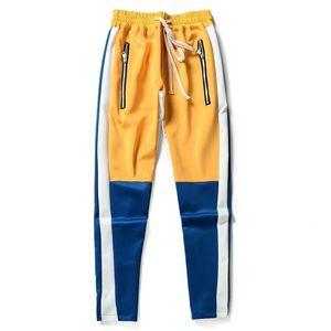 Vintage Color Block Patchwork Pantalons de survêtement Hip Hop Hommes Zipper Casual Taille Élastique Joggers Pantalon Streetwear