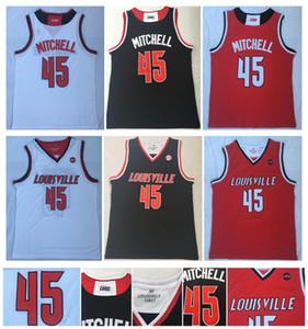 Mens Donovan Mitchell 45 de New Jersey de la universidad de Louisville Cardinals 100% cosido Donovan Mitchell Universidad Escuela de Baloncesto jerseys