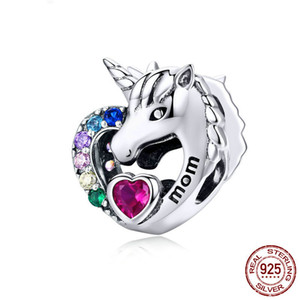 Fashion Genuine Sterling Sliver Licorne Cavallo Ciondolo Ciondolo Fascino DA TE Collana Braccialetto Bracciale Bangle Risultati Arcobaleno Animale Charms