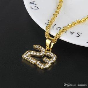 Bling bling gioielli hip hop di New Hip Hop Numero 23 collane di cristallo completa Pandents Bling placcato oro di Cuba di collegamento Mens Catena bella collana