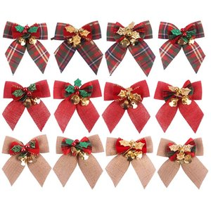 1 3 5 Red Merry Christmas Bowknot DIY Christmas Tree Decoration Bow With Bell New Year Navidad Wedding DIY Hair Bowknot Craft