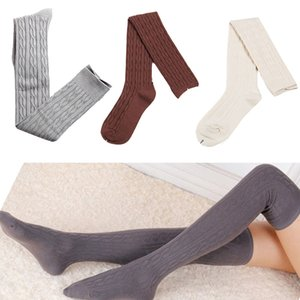 Moda inverno di autunno delle donne di lana della treccia sopra il ginocchio Calze coscia Highs Twist Hose Calze caldi