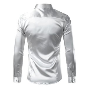 Silk Shirt Men Satin Smooth Men Solid Tuxedo Shirt Business Chemise Homme Casual Slim Fit Shiny Gold Wedding Dress Shirts 200925