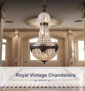 Retro Vintage Charming Royal Empire Style Big Led Crystal Modern Chandelier Lamp Lustres Lights E14 Para Hotel Iglesia Sala de estar