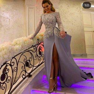 Sliver Prom Dresses Long Sleeve Front Slit A Line Lace Evening Gowns Vestidos De Fiesta With Appliqued