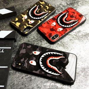 Für iPhone 11 11Pro Max X XR Phone Case Mode Camouflage Shark Mouth Ausgeglichenes Glas-Kästen für iPhone11 Pro XS MAX 7 8 Plus Abdeckung Coque