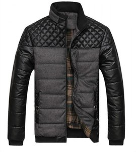 Dropshipping NUEVA primavera invierno gruesas chaquetas y abrigos de los hombres PU Patchwork Designer Fashion Mens Chaquetas de algodón prendas de vestir exteriores