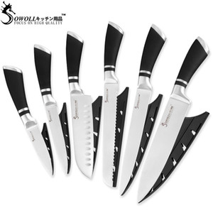 الفولاذ المقاوم للصدأ سكين المطبخ sowoll 6 قطعة مجموعة abs + الفولاذ المقاوم للصدأ مقبض سكين الطاهي الياباني santoku تقطيع سكين الفاكهة