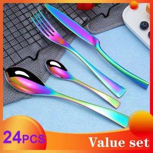 Spklifey Gökkuşağı çatal bıçak kaşık seti 24 adet Paslanmaz Çelik yemek sofra Gümüş setleri sofra bıçağı ve çatal yemek takımı