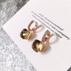 Diseño de joyería aro de las mujeres pendientes pendientes de lujo calientes pendientes de diamantes de color caramelo de piedra cuadrada pendiente cristalino la 2020