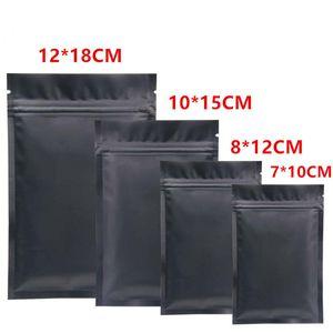 Mylar en plastique noir Sacs Open Top Aluminium Foil Sac à glissière pour le long terme de stockage des aliments Collectibles Protection de feuilles de thé sec Herb emballage
