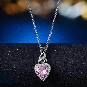 Meninas do coração simples dos em forma de coração Sea Colar pingente de colar feminina com dom partido Cadeia Fine Jewelry