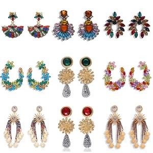 Women Earrings Flower earrings with colored diamonds super flashy sexy as a gift for women 2020 new2