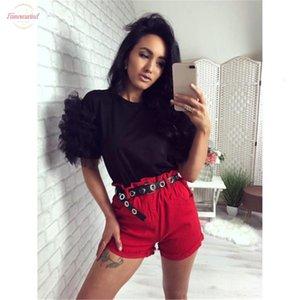 Women Summer Tulle Lace Ruffle Short Mesh Puff Sleeve T Shirt Ladies Loose Casual Collar Leopard Print Tops T Shirt New