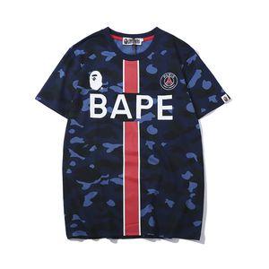 2019 Mais Novos Melhores Vendedores de Verão lu xury homens Da Marca APE camuflagem impressão T-shirt dos homens e das mulheres da moda Top Designer Alfabeto Bordado tshirt