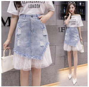 Neue Echtzeit-koreanische Version von Chao Da Dian dünne Spitze Spitze Nähen Stickerei A-förmigen Frauen Gesäß Jeans halblangen Rock