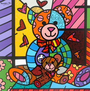 "Pintura Romero Britto Art Oil On Canvas Wall Decor ""Mother Bear And Baby"" pintado à mão HD Imprimir Wall Art Canvas Pictures 191030"