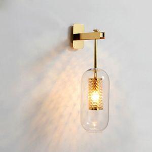 Lámpara de luces de pared de vidrio post-moderno Nordic Led aplique de pared para el baño Dormitorio Accesorios de iluminación para el hogar Lámpara de cocina Luminaire E14