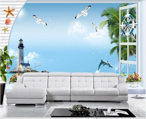 3d wallpaper custom photo Sea breeze sea blue sky lighthouse coconut tree seabird seascape home decor 3d wall murals wallpaper for walls 3 d