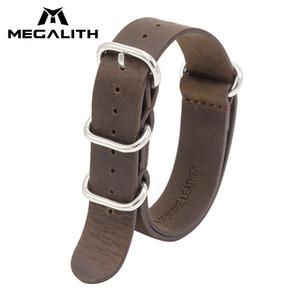 Megalith Top Marca de Couro Genuíno Relógios Bandas Para Homens Mulheres Nato Strap 18mm 20mm 22mm Militar Esportes Relógio de Couro Cinta G3 Y19070902
