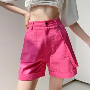 NCLAGEN Estate Shorts 2020 alte donne della vita Tasche Pantaloni felpa diritte Tasche Nastro Cargo Shorts femminile Sudadera Joggers
