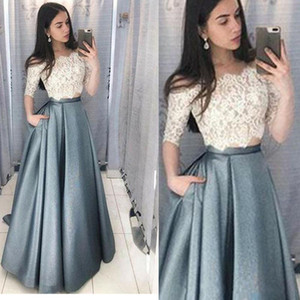 Sexy formal evening dress handmade elegant two piece set satin prom dresses gowns custom sizing plus size long with half sleeve