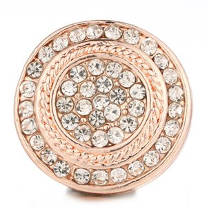 6pcs / lot New Snap Button Bijoux Or Rose Rond Crystal Snap Charms Fit 18mm / 20mm Ginger DIY Bouton BraceletBangles