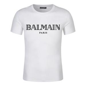 Lüks Avrupa Paris Nakış Kontrast patchwork Tişört Moda Erkek İngiltere Londra Klasik T Gömlek Casual Erkek Giyimbalmain Pamuk